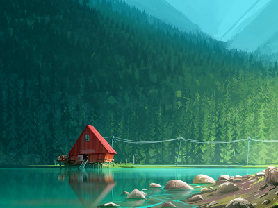 Обои sawmill, lake, Forest, artwork скачать