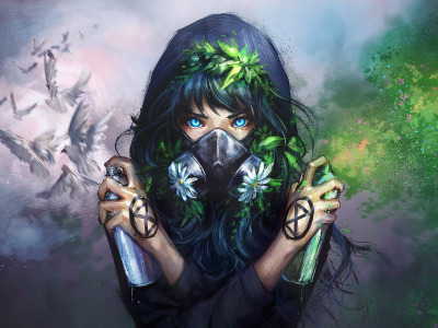 painting, graffiti, Green, digital art, artwork, dove, nature, blue eyes, white, …, flowers, art, girl, birds