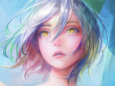 lips, hazel eyes, mouth, digital art, artwork, blue hair, face, Girl, short hair, art