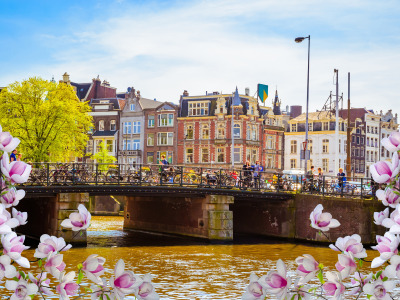 buildings, spring, весна, цветение, flowers, blossom, Amsterdam, bridge, canal, Netherlands, old, Амстердам, река, Мост