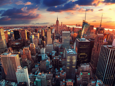 Обои City, USA, sky, photography, sunset, New York, Manhattan, NYC, New York City, clouds, rivers, Empire ... скачать
