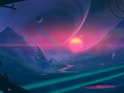 Moon, fantasy, science fiction, mountains, sun, spaceship, sci-fi, artist, digital art, artwork, alien world, fantasy