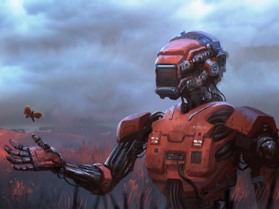 Fantasy, Robot, field, science fiction, butterfly, sci-fi, digital art, artwork, concept art, fantasy art, illustration
