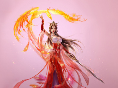 3Q STUDIO, Fantasy, Girl, Illustration, Style, Art, Asia, Beautiful, Asian, Dress, Phoenix, Sword, Characters