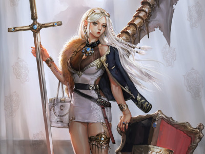 fantasy, blonde, fantasy art, sword, artwork, digital art, shield, ..., Princess, dress, Girl, weapon, blue eyes