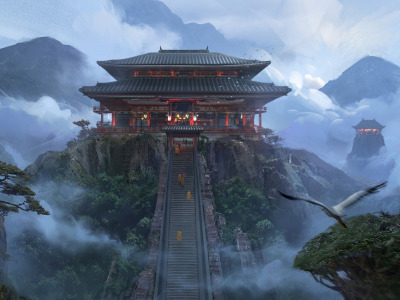 Обои MC5 concept art, Alex Ichim, японский храм, japanese temple art скачать