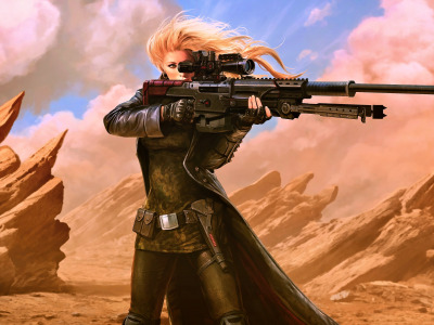 weapon, Warrior, desert, concept art, digital art, blonde, fantasy art, futuristic, Girl, fantasy, rifle, artwork