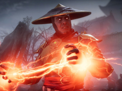 Red, game, lightning, fighting, Raiden, god of thunder, screenshot, NetherRealm Studios, 2019, Mortal Kombat 11