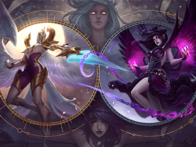 armor, fantasy, game, angels, wings, weapon, digital ..., battle, girls, magic, League of Legends, Light, sword