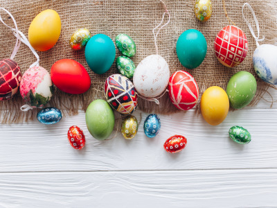 Яйца, весна, colorful, Пасха, wood, spring, Easter, eggs, decoration, Happy