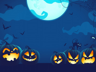 Обои holiday, cat, spider …, black cat, digital art, moon, Spider, blue, Halloween, pumpkins, bats, night, spooky скачать