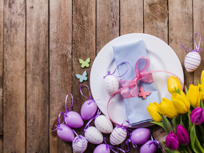 egss, holiday, Plate, with, spring, table, wooden, decoration