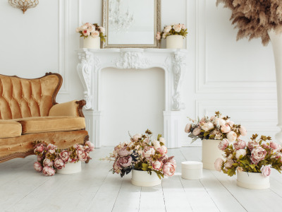 Цветы, комната, диван, камин, vintage, design, pink, flowers, пионы, room, interior, sofa, fireplace, peonies, provance