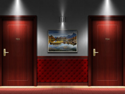 Hallway, interior, my works, door, hotel