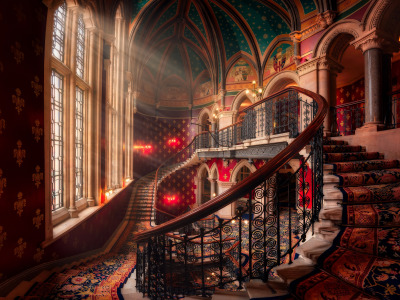 Лучи, окно, лестница, rays, window, stairs, Hernan Calderon Velasco, St. Pancras Renaissance London Hotel