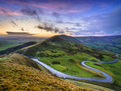 Обои Дорога, холмы, Англия, Derbyshire, Peak District, Mam Tor скачать