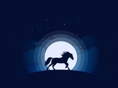 Moon, minimalism, clouds, stars, animal, blue background, digital art, artwork, silhouette, Horse, simple background