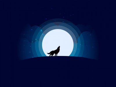 howling, silhouette, artwork, Moon, stars, Wolf, wild, digital art, animal, simple background, minimalism
