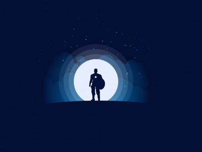 Обои minimalism, …, clouds, silhouette, Moon, artwork, superhero, blue background, Captain America, Marvel, shield, stars, digital art скачать