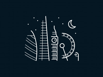 Обои Moon, minimalism, stars, London, London Eye, digital art, Big Ben, artwork, architecture, United Kingdom, building скачать