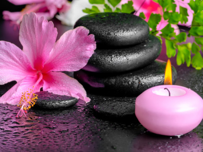 Flowers, Spa, spa stones, background, candles, спа