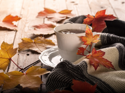 Обои Cup, фон, leaves, autumn, coffee, листья, wood, чашка кофе, colorful, клен, осень, maple скачать