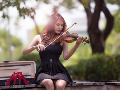 Music, girl, dress, photography, violin, Musician, playing, high heels, sitting, red shoes, portrait, musical instrument