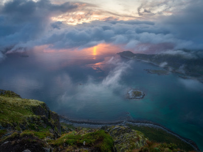 Облака, горы, Солнце, mountains, clouds, Andrey Bazanov, the Sun, Андрей Базанов
