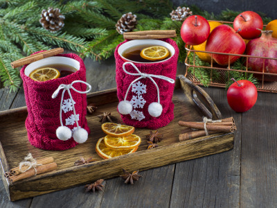 tea, cup, украшения, …, Новый Год, яблоки, Christmas, New Year, Рождество, cookies, apples, decoration, Снег, snow