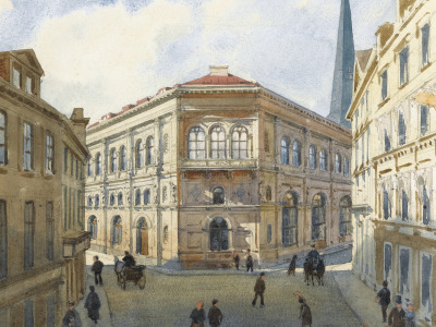 VIEW OF THE RIGA STOCK EXCHANGE, watercolour over pencil, 1880, Albert Nikolaevich Benois