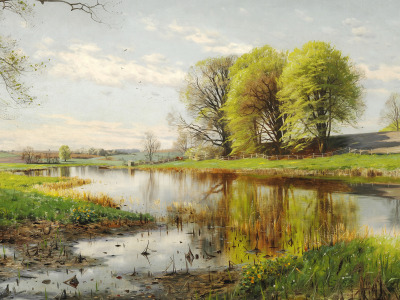 1901, Петер Мёрк Мёнстед, Peder Mørk Mønsted, Датский живописец, Danish realist painter, A Danish spring ...