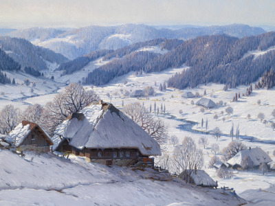 Great …, Karl Hauptmann, немецкий живописец, oil on canvas, Große Schwarzwald Winterlandschaft, German painter, Карл Хауптманн