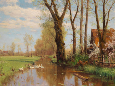 Walter Moras, немецкий живописец, German landscape painter, Вальтер Морас, oil on canvas, Magnificent spring landscape