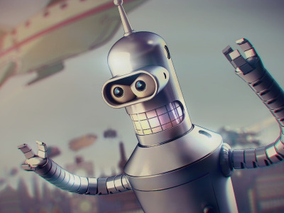 Обои Metal, Futurama, Robot, Planet Express, Future, 20th Century Fox, Spaceship, Blur, Buildings, Teeth, Character, Bender скачать