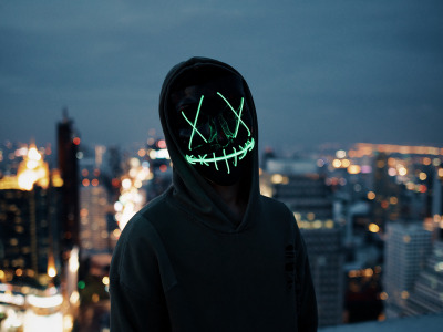 Lights, dark, wallpaper, blur, neon, situations, anonymous, mask, silhouette, hood, 4k ultra hd background, city